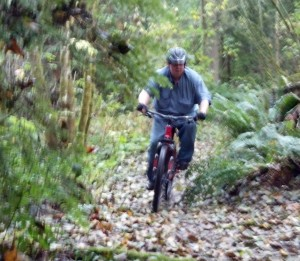 BigA moving quickly through the woods on the new Bike